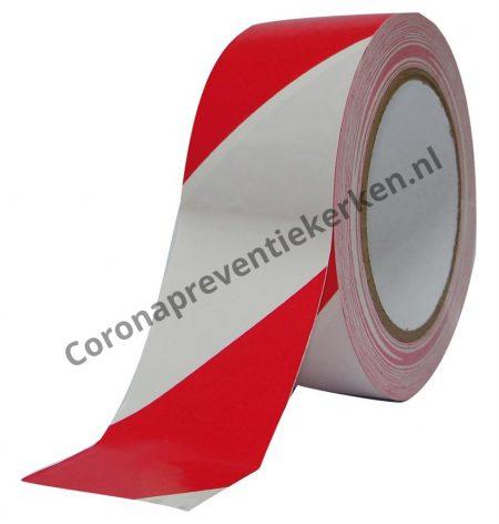 Plastic afzetlint rood-wit